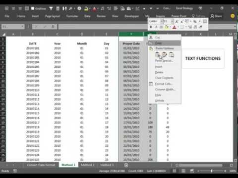 Excel 2016 V16 Convert Date format from yyyymmdd to dd/mm/yyyy