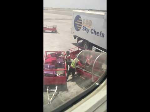 Spice Jet staff unloading luggage