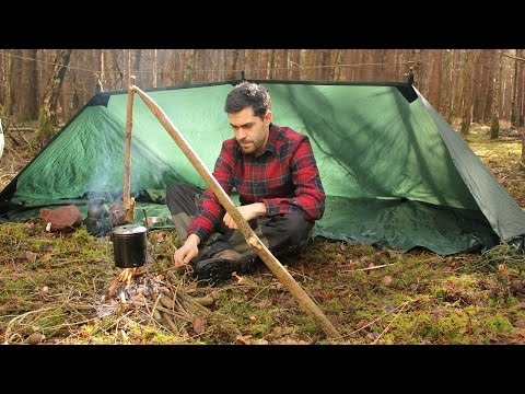 Bushcraft - Camp Fire with Pot Hanger, Coffee and Day Pack Gear Overview