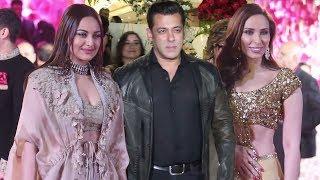 Salman Khan With Dabangg 3 Actress Sonakshi Sinha & Girlfriend Iulia Vantur @Azhar Morani's Wedding