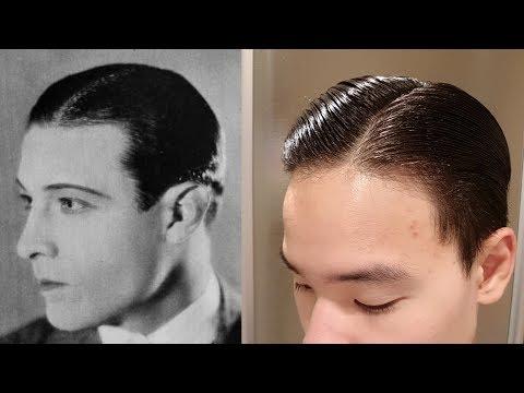Rudolph Valentino Hair Tutorial   1920s Side Part   Executive Contour