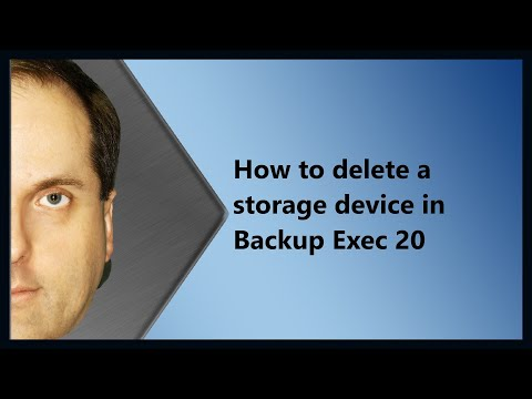 How to delete a storage device in Backup Exec 20