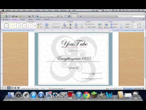 How to Create a Certificate on Word 2011 Mac