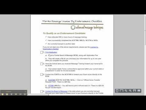 Florida Massage License Application Process
