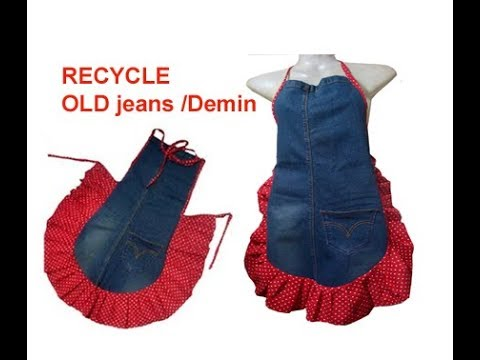How to Recycle Jeans/demin into a Kitchen Apron /garden apron/jeans craft ideas