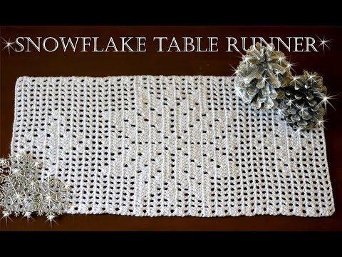 How To Crochet SNOWFLAKE Table Runner   Part 1