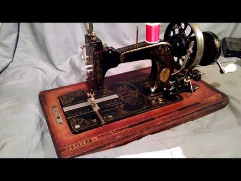 Serviced Antique Frister & Rossmann Hand Crank Sewing Machine with Snowflake Mother of Pearl 940949