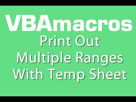 Print Out Multiple Ranges With Temp Sheet- VBA Macros - Tutorial - MS Excel 2007