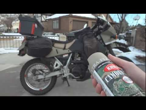 o#o How to spray paint a KLR 650 with Krylon Fusion and Truck Bed Liner
