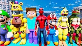 NEW SPIDERMAN MOD! ANIMATRONICS & MINECRAFT STEVE & MARIO ADVENTURE! (GTA 5 Mods FNAF RedHatter)