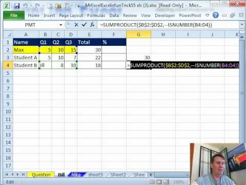 Mr Excel & excelisfun Trick 55: Calculate Grade & Exclude Scores When Student Is Absent.