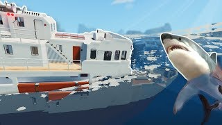 SINKING SHIP LEADS TO SHARK SURVIVAL! - Stormworks Multiplayer Gameplay