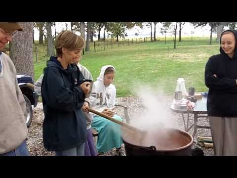 Making Apple Butter Over a Fire in Copper Kettles