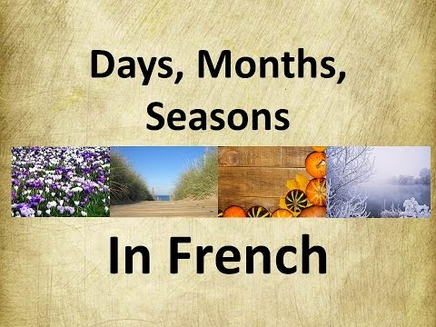 French language | Days, Months, Seasons