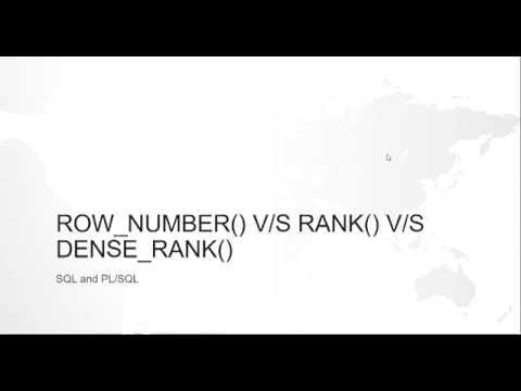 Row Number Vs Rank Vs Dense Rank