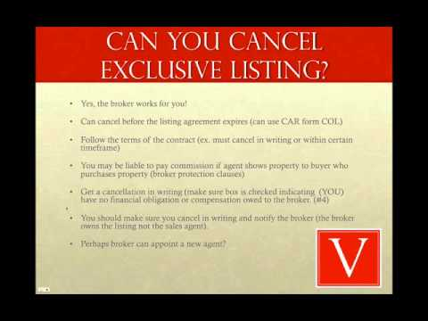Can I cancel a real estate exclusive listing contract?