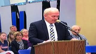 Suspended Secaucus High School Principal Robert Berckes speaks at board of ed meeting, May 10, 2018