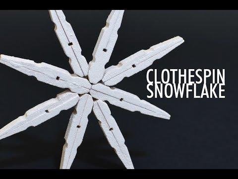 Clothespin Snowflake - DIY Christmas Decor Holiday Ornament