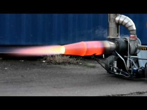 Jet engine afterburner test with DIY Gasturbine