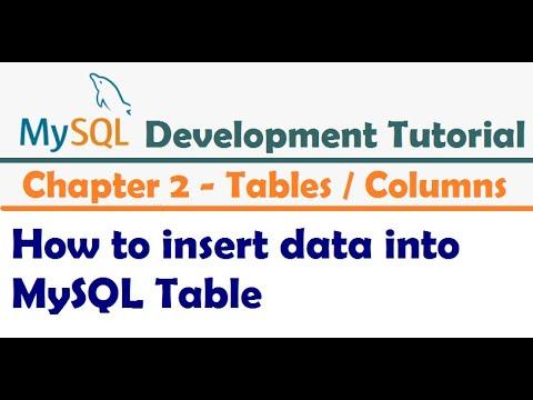 How to insert data into MySQL Table     Inserting Data Into Tables -  MySQL Developer Tutorial