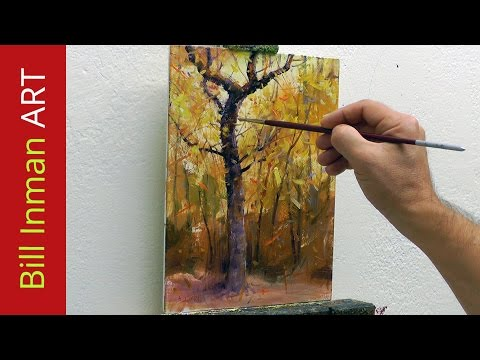 Paint Trees - Learn to Paint Fall Colors and Leaves - Fast Motion - by Master Artist Bill Inman