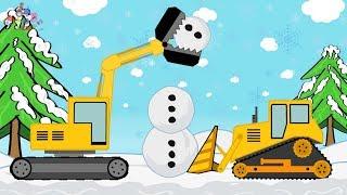 Excavator and Bulldozer Building a Snowman | Toy Factory | Video For Kids | Budowanie Bałwana