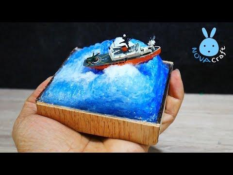 DIY Newspaper miniature Sea | DIY ที่ทับกระดาษทะเลคลั่งจากปืนกาวร้อน