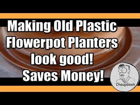 Making Old Plastic Flowerpot Planters look good!