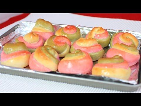 Baked Matcha and Strawberry Swirl Rolls / Dinner Rolls Recipe