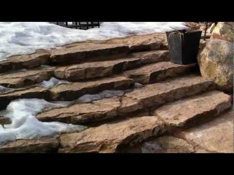 Installing stone landscape steps Landscape contractor Broomfield