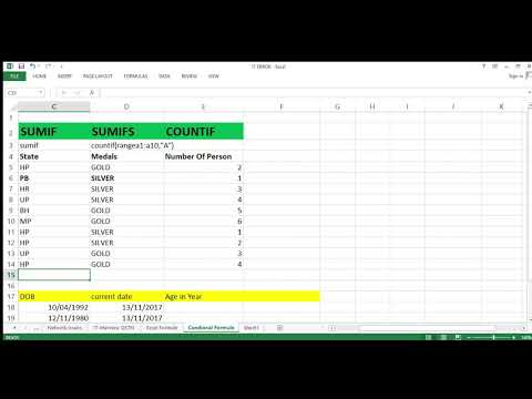 Conditional Formule in Excel SUMIF ,SUMIFS, COUNTIF