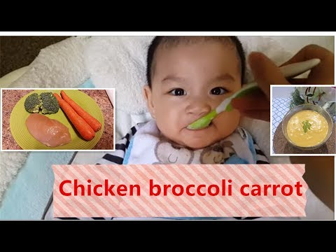 Easy & Healthy Homemade Chicken with Broccoli and Carrot Baby food