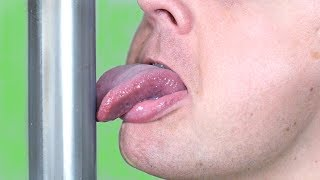 TONGUE STUCK TO POLE!