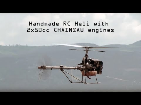 Handmade rc helicopter 2Χ50cc CHAINSAW engines