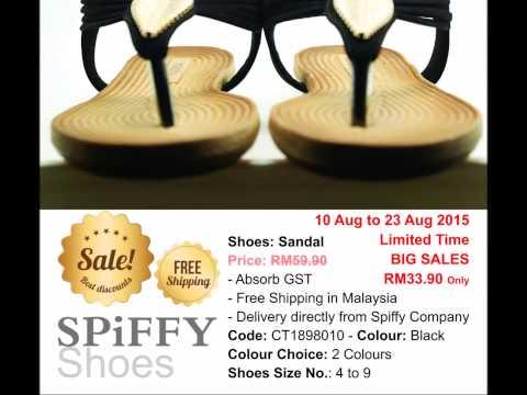 Malaysia Shoes Spiffy Brand Sandals CT1898010 Black Colour Shoe Fashion Ladies Lady
