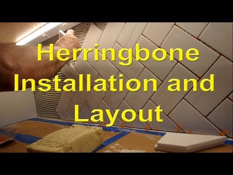Herringbone kitchen  backsplash step by step layout and installation