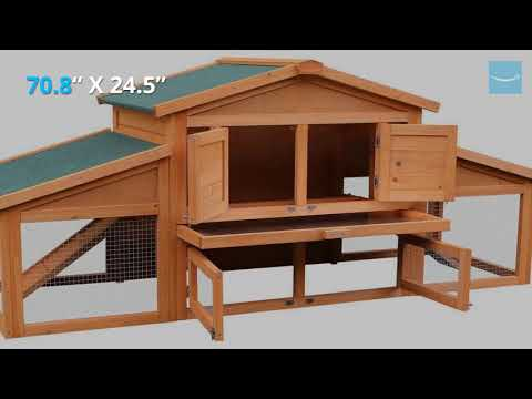 Merax 70 Inch Wooden Rabbit Hutch Outdoor Pet House Cage for Small Animals