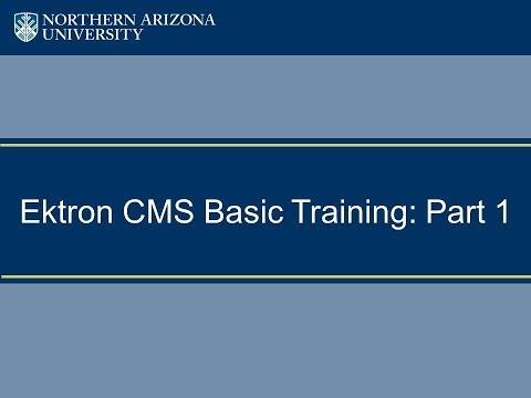 Ektron CMS Basic Training: Part 1