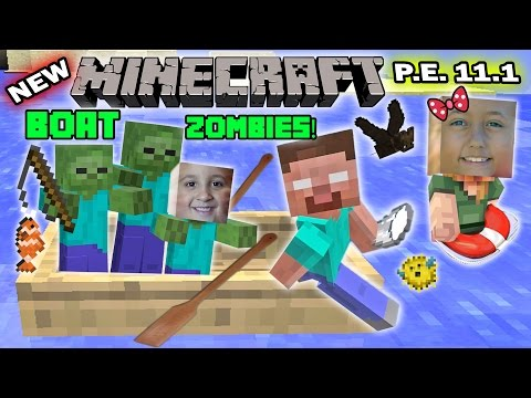 FGTEEV Kids play MINECRAFT PE: FISHING w/ BOAT ZOMBIES!  New Skins + More!! (11.1 Update! )