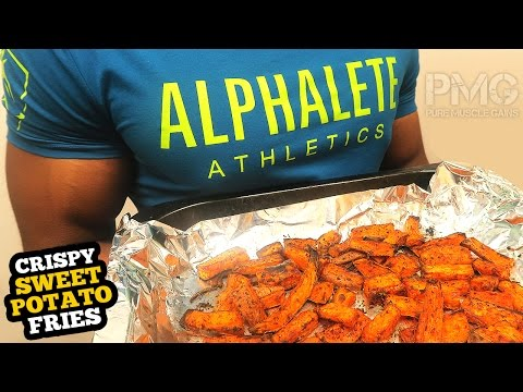How to make Oven CRISPY Sweet Potato Fries | Bodybuilding Recipes