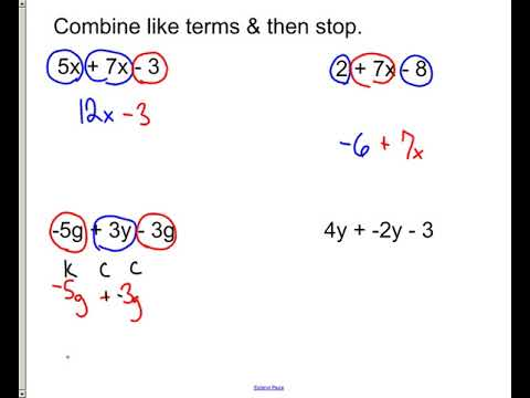 combining like terms equations