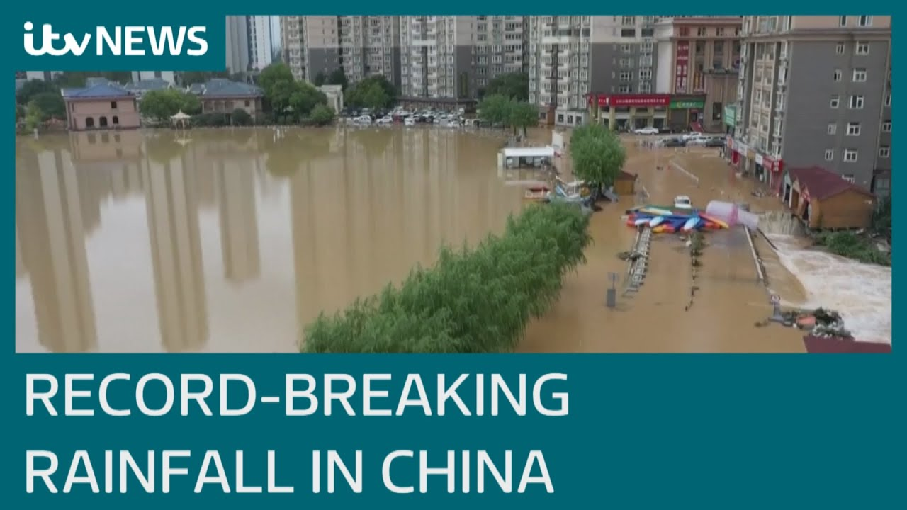 Flooding in China turns streets to rivers after 'heaviest rainfall in 1,000 years' | ITV News