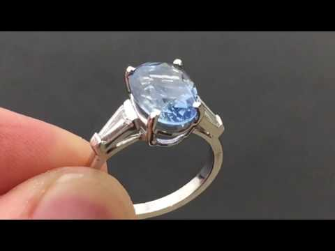 5 Carat Light Blue Sapphire Platinum Ring - HH472