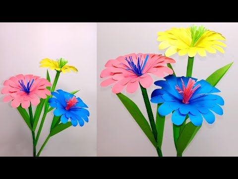 How to Make Paper Stick Flower- DIY- Handcraft- Paper Craft-Jarine's Crafty Creation