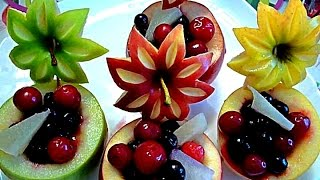 8 LIFE HACKS HOW TO CARVE APPLE - ART IN APPLE & FRUITS CARVING - APPLE GARNISH