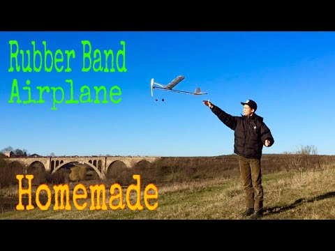 Homemade Rubber Band Airplane - Very Big and Powerfull