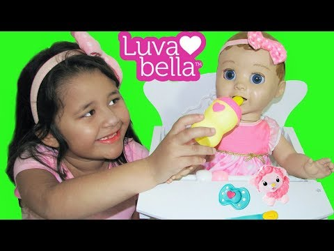 Luvabella Baby Doll Playing and Bottle Feeding