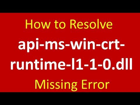 How to resolve api-ms-win-crt-runtime-l1-1-0.dll is missing error