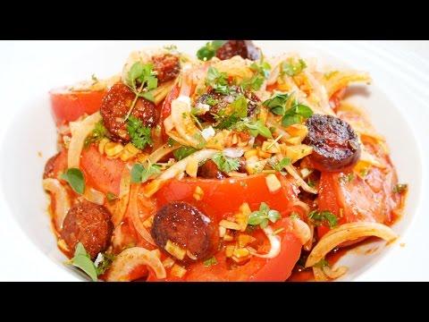 Tomato salad with chorizo