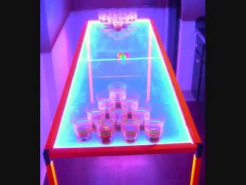 The Ultimate Beer Pong Table Custom Fluorescent Orange and Blue with Black Light LEDS!!